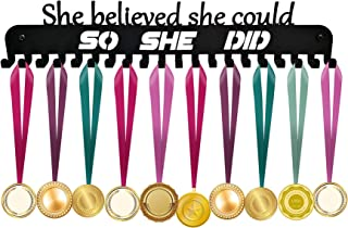 Medal Holder, Medals Display Hanger Rack for Over 40 Medals – Coated Pure Steel Wall Mount Easy to Install Race Runner Medal Frame (Black)