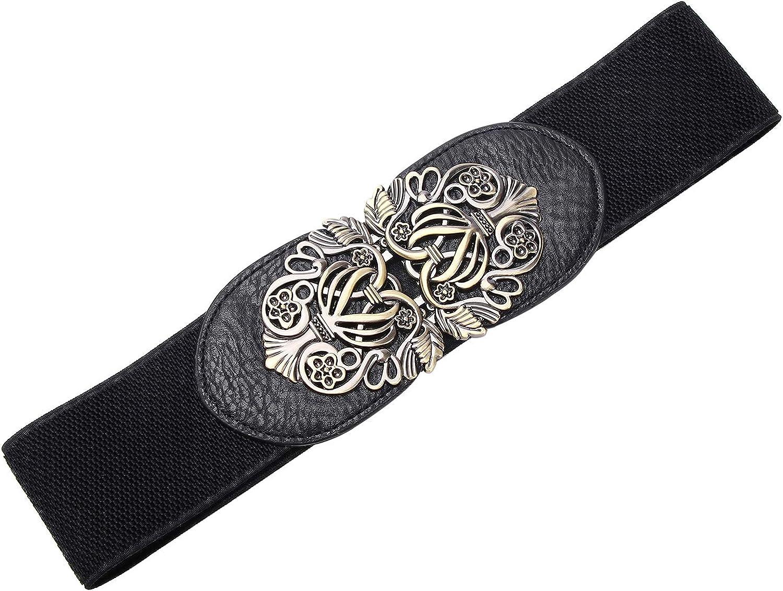Syuer Women Retro Style Stretchy Waist Belt Vintage Elastic Wide Dress Belts