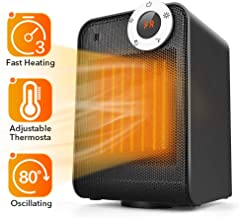 TRUSTECH Portable Ceramic Space Heater, 1500W with Adjustable Thermostat, Overheat & Tip-Over Protection, Oscillation for Office Home 12h Timer, Digital Display, Black