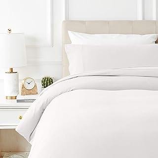 AmazonBasics - Juego de cama de franela con funda nórdica - 135 x 200 cm/50 x 80 cm x 1, Blanco