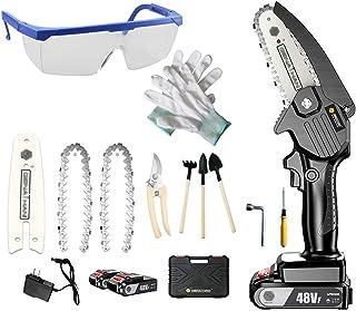 XLOO 4-tums elektrisk motorsåg, 16,8 V batteri och laddare, kedja (2 stycken) för skärning av grenar, trädgårdsskärning, b...