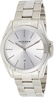 Akribos Xxiv Sunray Dial Date Women's Silver Stainless Steel Band Watch - Ak948Ss, Analog Display