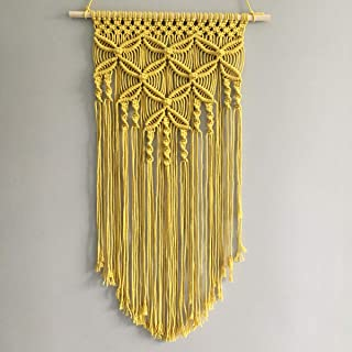 Winterdemoon Handmade Cotton Home Decor Macrame Wall Hanging Yellow