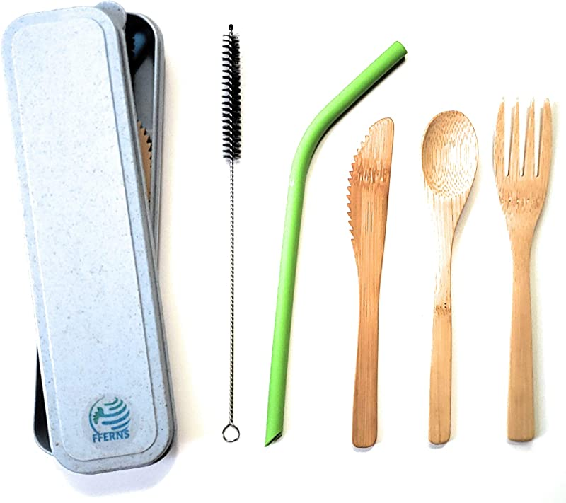 Kids Bamboo Reusable Utensils Set FFERNS To Go Carrying Case Travel Silverware Set 6 Bamboo Fork Spoon Knife 8 Silicone Straw With Cleaning Brush Waste Free Portable Wooden Utensils Set