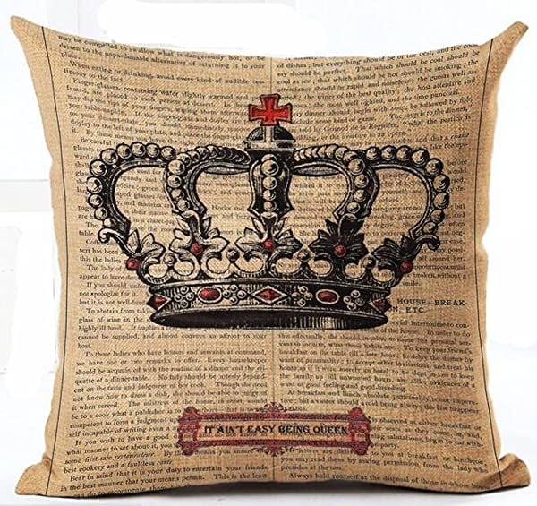 Lacanu Cotton Linen Retro Book Page Illustration Black Sketch King Crown Pillow Covers Cushion Cover Decorative Sofa Bedroom Square 18 Inches