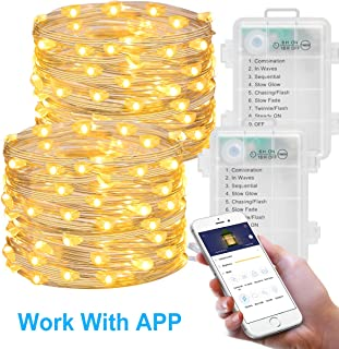 MINGER 2 Pack Fairy Lights with APP, LED Fairy String Lights Battery Operated, 16.4ft (50 LEDs 8 Modes) Waterproof Copper Wire Firefly Lights for Indoor Christmas Holiday Patio Decoration