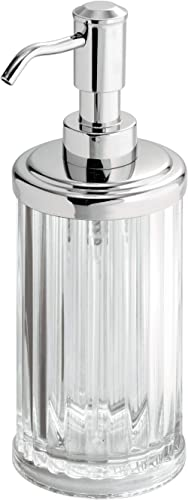InterDesign Alston Refillable Plastic Soap Dispenser, Clear/Chrome