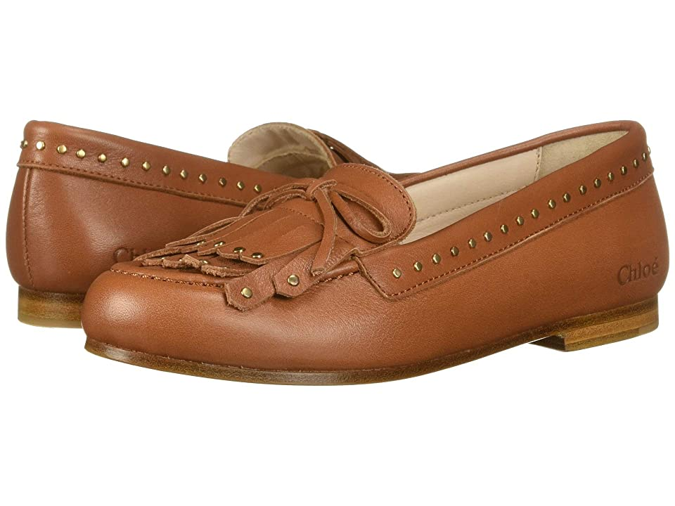 Chloe Kids Moccasins in Calf Leather, with Leather Fringes (Little Kid) (Roux Brown) Girl