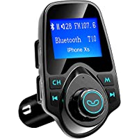 VicTsing 1.44'' LCD Car Bluetooth FM Transmitter with 2 USB Ports, AUX In/Out, TF Card