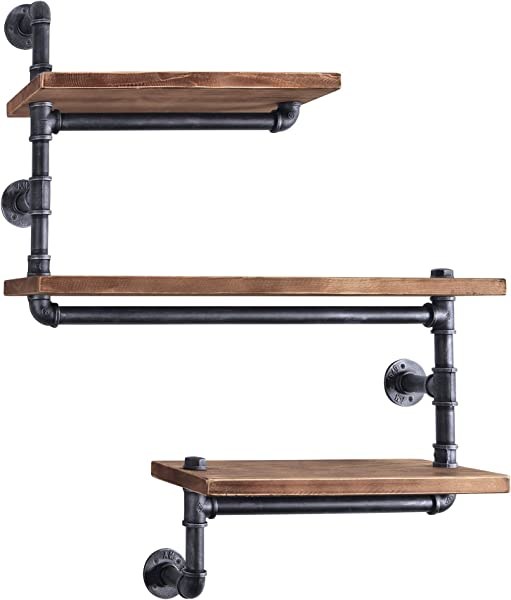 Today S Mentality Panama Industrial Floating Silver Brushed Gray Pipe Wall Shelf With Walnut Wood