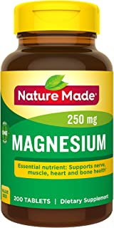 Nature Made Magnesium 250 mg Tablets, 200 Count Value Size (Packaging May Vary)