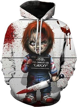MingoTor Sudadera con Capucha para ChildS Play Chucky Sweatshirt Hoodie impresión Pulli Tops Chaqueta Camisa de Jersey Chaqueta de Sudor Outwear Tops ...