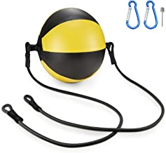 KUYOU Boxing Double End Speed Ball,Leather Boxing Ball Speed Training Ball Double-end Bags Include 2pcs Ring Locking for Training Gym Exercise Agility - Yellow + Black