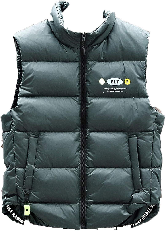 Snhpk Men's Down Vest Outerwear Gilets Coat Softshell Jacket, Winter Thicken Warm Windproof Overcoat Waistcoat,Green1,S