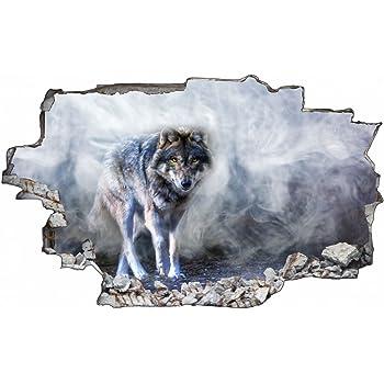 liegender Wolf Wald 3D-Look Durchbruch Wandtattoo Aufkleber-Sticker