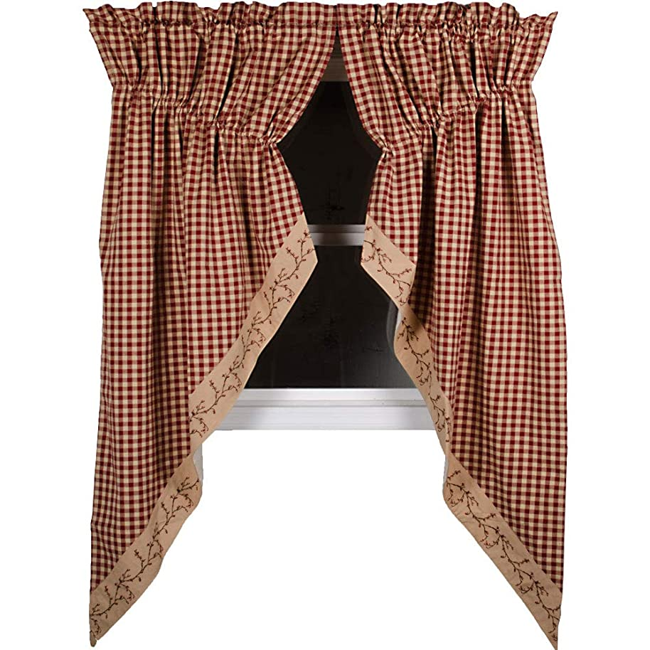 Primitive Home Decors Berry Vine Check Gathered Swag - Barn Red