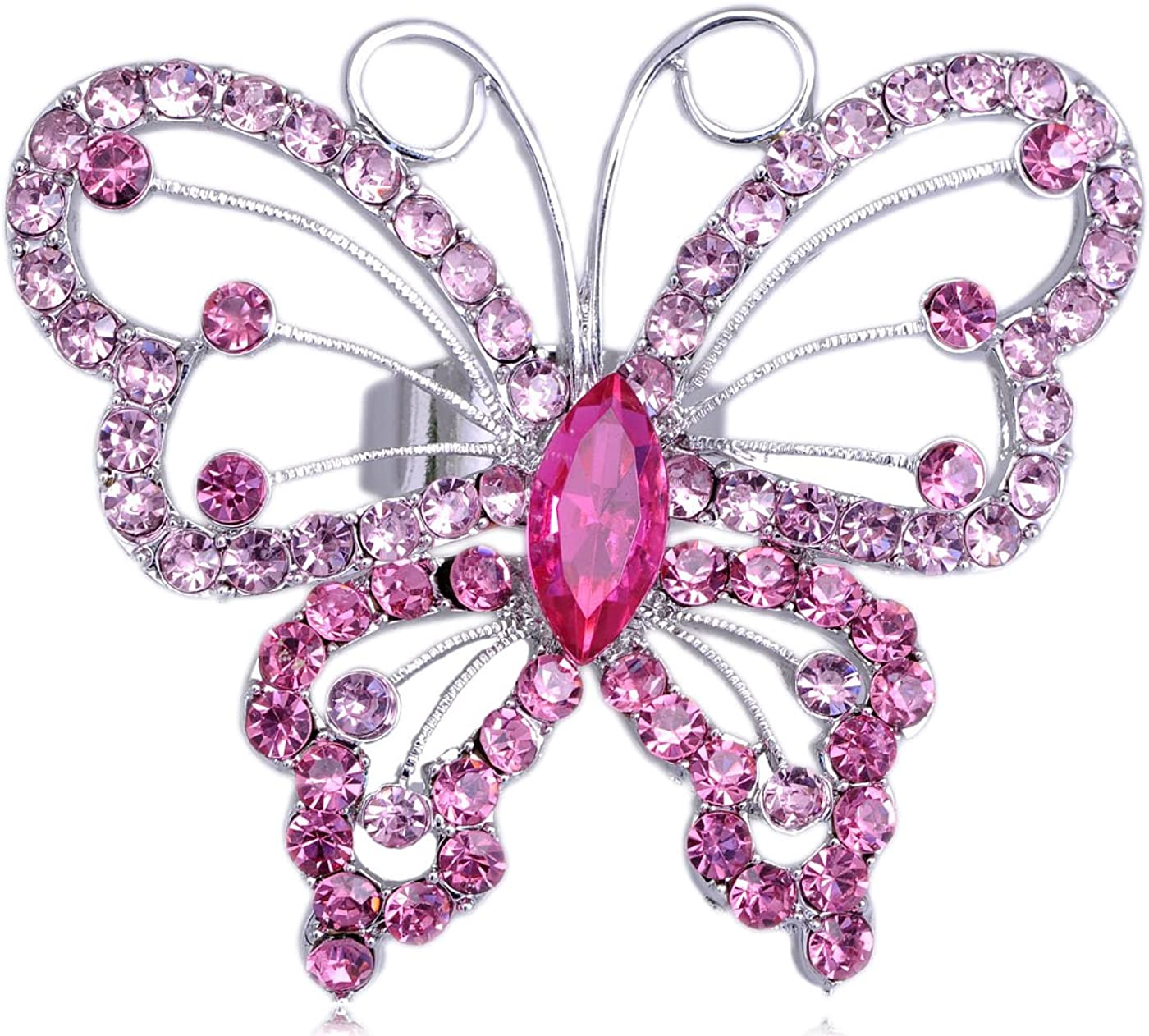 Alilang Butterfly Widespread Wing Fly Design Pink Rose Crystal Rhinestone Spring Ring