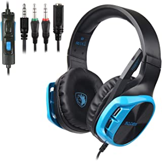 SADES R17 Gaming Headset for PS4 Controller,Xbox One,PC,Laptop,Mac,Tablet,Smartphone,Over Ear Noise-canceling Gaming Headphones with Mic for Nintendo Switch Games(Black&Blue)