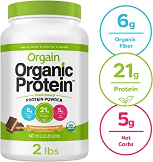 Orgain Organic Plant Based Protein Powder, Chocolate Peanut Butter - Vegan, Low Net Carbs, Non Dairy, Gluten Free, Lactose Free, No Sugar Added, Soy Free, Kosher, Non-GMO, 2.03 Pound