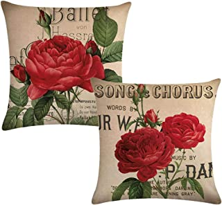 7ColorRoomRose Throw Pillow Cover, Blooming Red Rose with Flowers &Green Leaves Pattern Decorative Square Pillowcases,18 X 18 Inches 2 Pack for Sofa,Couch,Bed. (Red Rose)