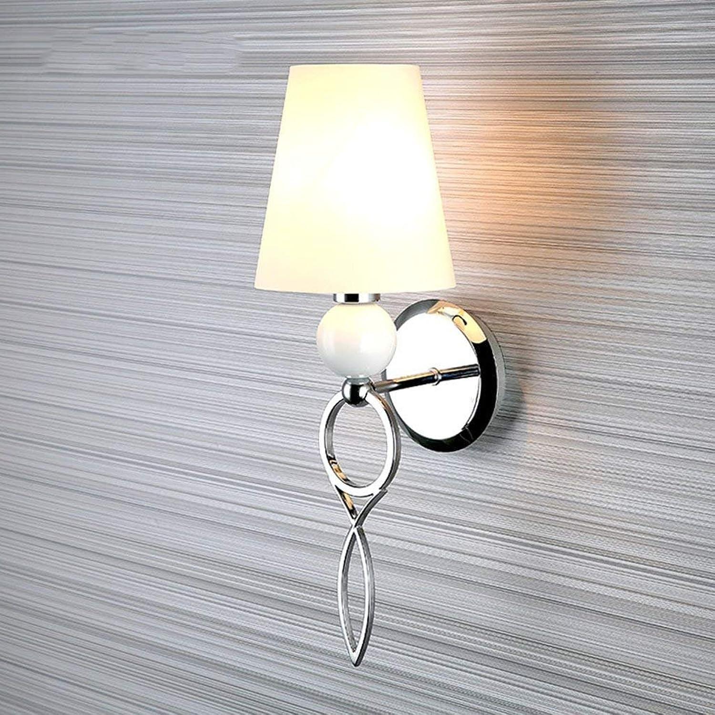 QAZ Wand Lampe Glas Wandleuchten moderne Schlafzimmer mit schmiedeeisernen Single Head Wandleuchten Korridor Treppe Gang Beleuchtung (Farbe  wei)