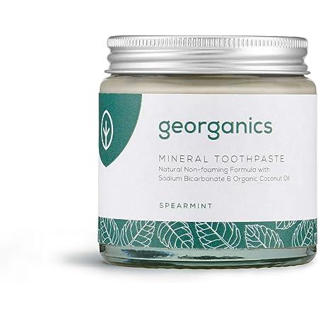 Georganics - Organic Mineral-Rich Teeth Whitening Toothpaste - Non-foaming Formula with Organic Virgin Coconut Oil - Vegan, SLS, Cruelty and Fluoride Free - Spearmint - 120ml