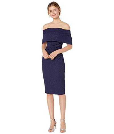 Vince Camuto Off the Shoulder Dress with Collar (Navy) Women