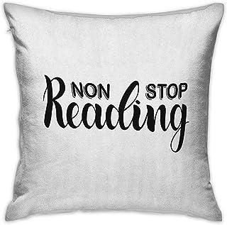 Libro Fundas de almohada cuadradas con cremallera Frase de lectura sin parar con tipografía de letras pintadas a mano sobr...