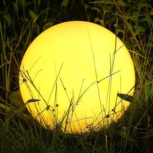 Albrillo RGB Lampe Solaire de Jardin - Boule LED Solaire avec Télécommande, Diamètre 40 cm avec 8 Couleurs, Rythme et...