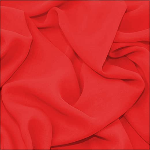 """Fabric King Online Premium Crepe Chiffon Plain Dyed Soft Polyester Sheer Fabric 44/45"""" 
