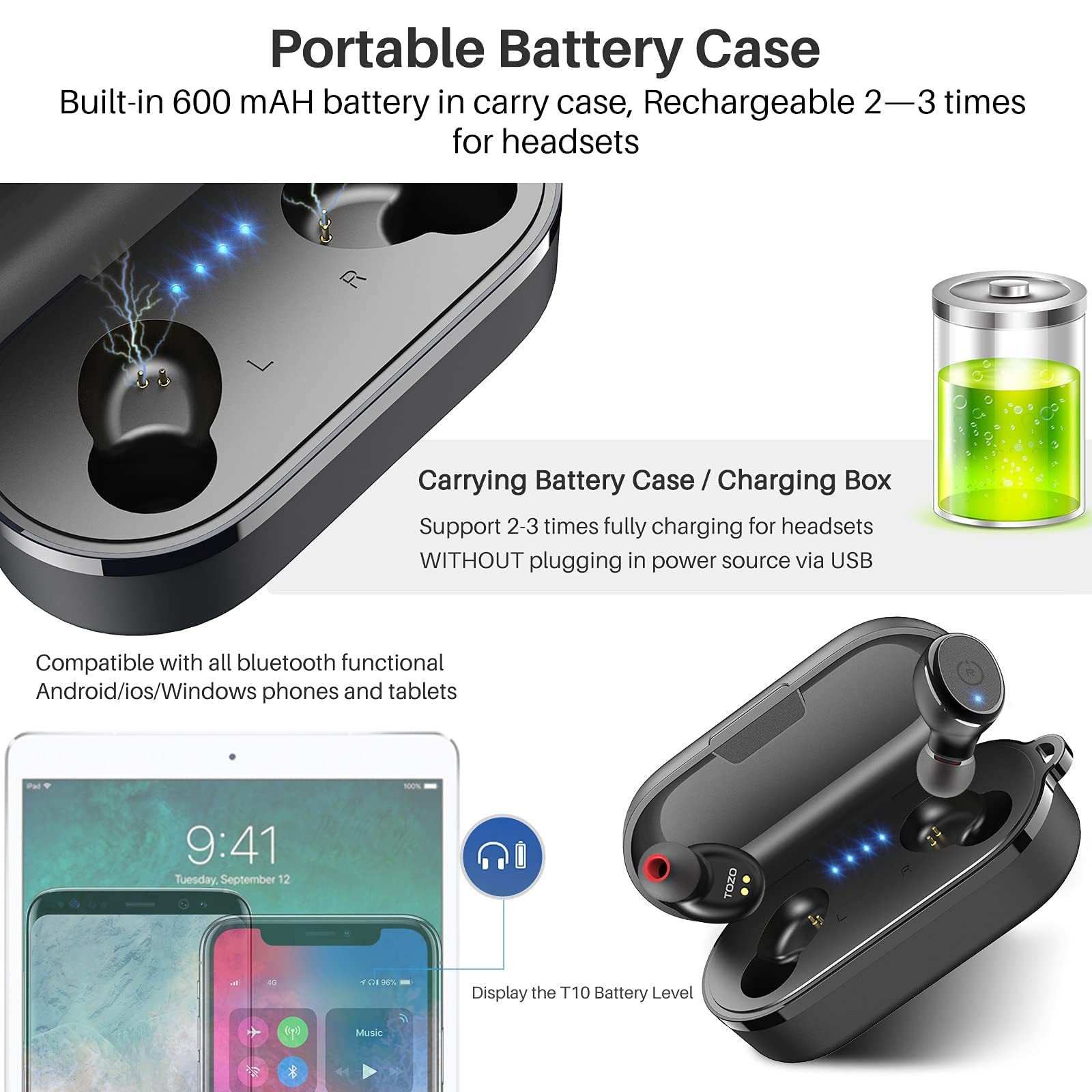 TOZO T10 Bluetooth 5.0 Wireless Earbuds with Wireless Charging Case IPX8 Waterproof Stereo Headphones in Ear Built in Mic Headset Premium Sound with Deep Bass for Sport Black