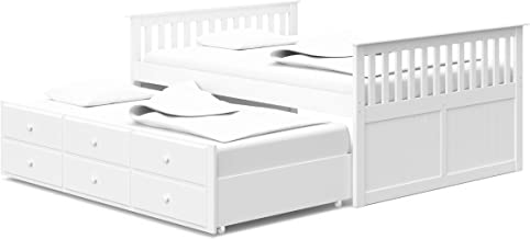 StorkCraft Marco Island Full Captain's Bed with Trundle, White