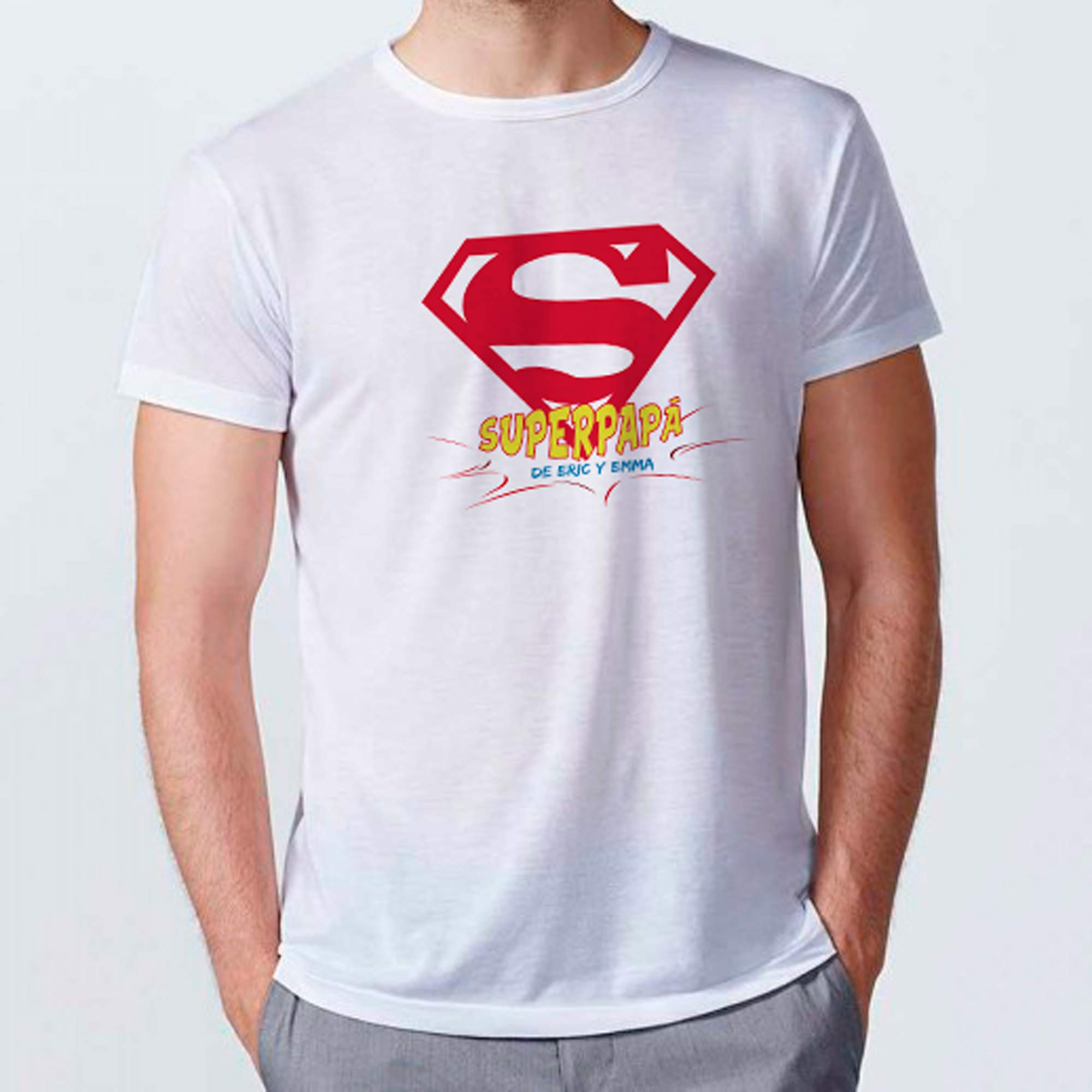 LolaPix Camiseta Super Papa Personalizada con Nombre/Texto. Regalos Personalizados para Hombre. Certificado Oeko-Tex Standard. Varios diseños y Tallas. Tacto Algodón. Papá Superhéroe: Amazon.es: Hogar