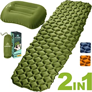 HiHiker Camping Sleeping Pad + Inflatable Travel Pillow – Ultralight Backpacking Air Mattress w/Compact Carrying Bag –Sleeping Mat for Hiking Traveling & Outdoor Activities