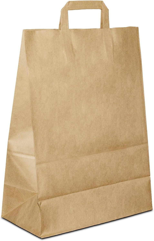 100 x Papiertüten braun 3217x44 cm   stabile Papiertragetaschen   Kraftpapiertüten Flachhenkel   Paper Bag Mittel   Werbetaschen   HUTNER B076KKBQ7D   Sonderangebot