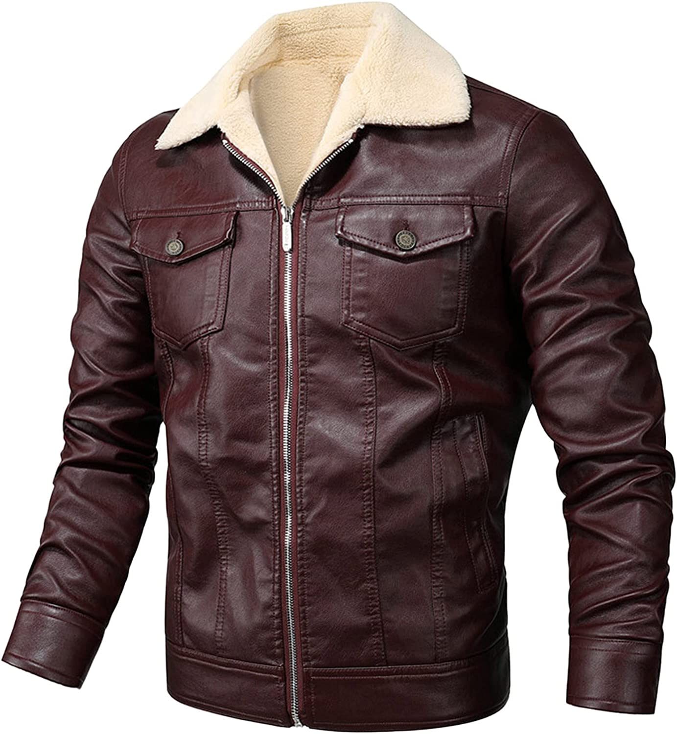 ZDNB 2021 Men Leisure Plus Cashmere Hooded Faux Leather Jacket Loose Stand Collar Zip-Up Motorcycle Bomber Coat Jacket
