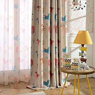 "Melodieux Cartoon Pony Room Darkening Blackout Curtain for Kids Room Nursery Grommet Window Drape, 52""W x 84""L (1 Panel)"