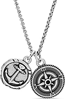 Steve Madden Men's Oxidized Anchor and Compass Design Coin Charm Chain Necklace in Stainless Steel, Silver, 28