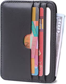 Slim Leather Card Case Wallet Minimalist Credit Card Holder Money Clip for Women and Men