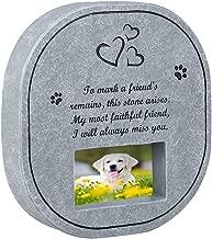 UEETEK Pet Memorial Stone Tombstone with Waterproof Photo Frame, Memorial for Loss of Dog or Cat