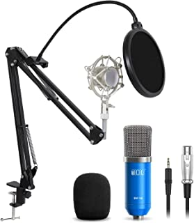 TONOR Professional Studio Condenser Microphone Computer PC Microphone Kit with 3.5mm XLR/Pop Filter/Scissor Arm Stand/Shock Mount for Professional Studio Recording Podcasting Broadcasting, Blue