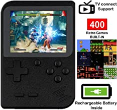 DigitCont Retro Mini Handheld Arcade, Built-in with 400 Classic Games 2 Players Mode Miniature Console Handheld Portable Game Cabinet Machine Rechargeable Battery Inside Support Connect TV Black
