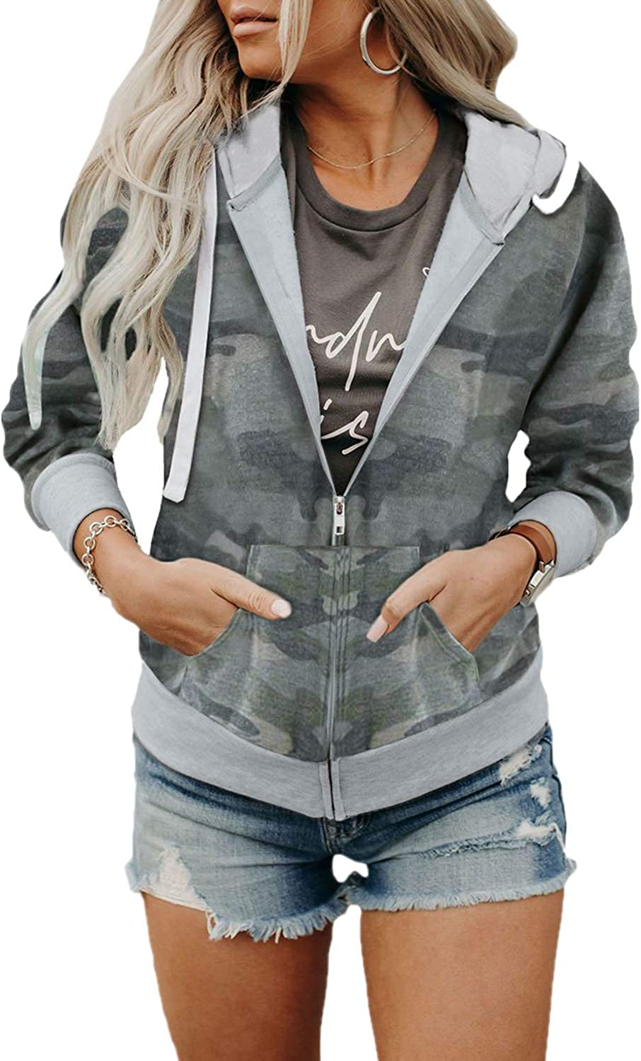Actloe Womens Outerwear Casual Max 68% OFF Long Jacket Hoodie Zip-Up Sleeve Bombing new work