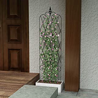 ZGXY Garden Trellis for Vines and Climbing Plants Rustproof Black Metal Wire Lattice Grid Panels for Ivy Roses Cucumbers, Clematis Support, Rose Vines, Durable & Sturdy Beautiful Plant Decor
