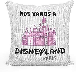 AR Regalos Cojín de Lentejuelas Nos Vamos a Disneyland Paris - Rosa