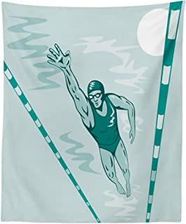 Lunarable Olympics Tapestry, Sports Competition Swimmer Male Athlete Pool Record Breaking Racing Theme, Fabric Wall Hanging Decor for Bedroom Living Room Dorm, 23