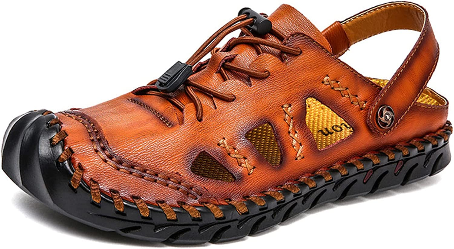 Leather Sandals for Men Closed Max 67% OFF Slip Toe Hollow-carved Breathable Detroit Mall