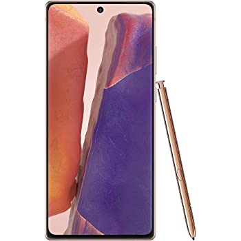 """Samsung Galaxy Note 20 (256GB, 8GB) 6.7"""" AMOLED, Exynos 990, Factory Unlocked (AT&T, T-Mobile, Metro, Straight Talk) 4G International Model N980F/DS (Mystic Bronze w/ JN980 Clear Standing Case)"""