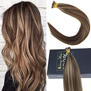 Sunny Brazilian I Tip Hair Extensions Human Hair, Brown Mixed Blonde Remy Straight Stick Tip Human Hair Extensions Real Human Hair-18Inches 50gram Per Pack