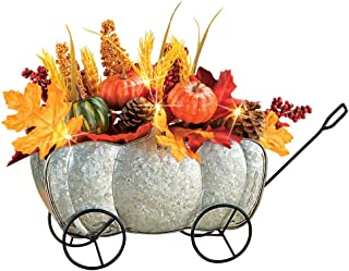 Collections Etc Lighted Harvest Galvanized Metal Pumpkin Cart Fall Centerpiece with LED Lights